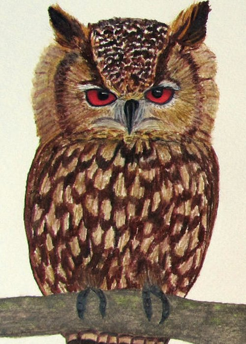 Owl Greeting Card featuring the painting Eagle Owl by Nicole I Hamilton