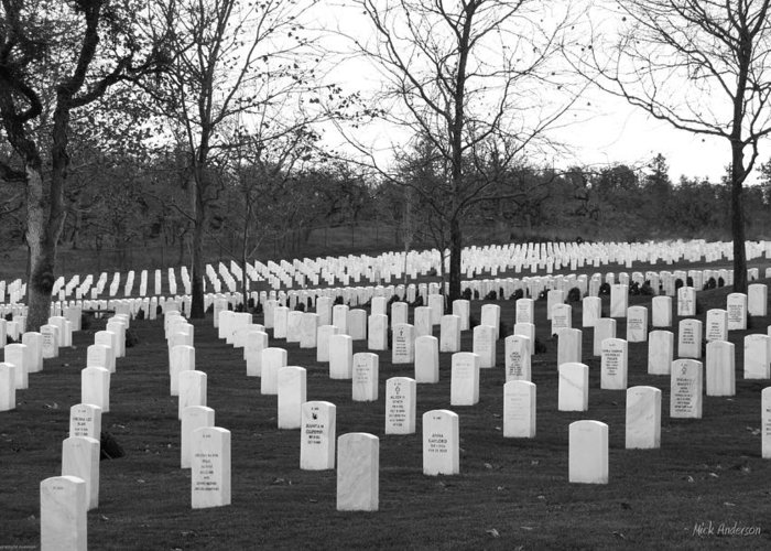 Eagle Point National Cemetery Greeting Card featuring the photograph Eagle Point National Cemetery In Black And White by Mick Anderson