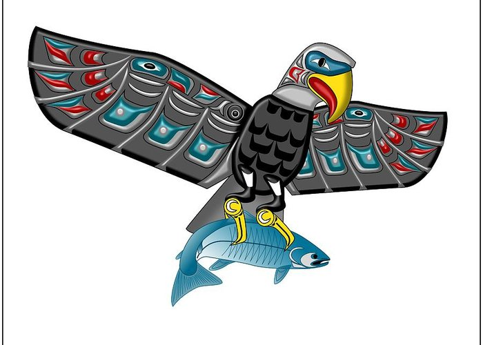 Haida Point Art Greeting Card featuring the drawing Eagle Salmon Totem by Fred Croydon