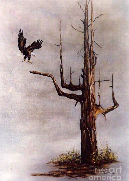 Eagle In Flight Greeting Card featuring the painting Eagle with Snag by Lynne Parker