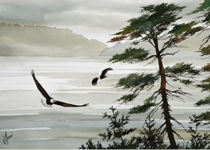 Eagle Fine Art Print Greeting Card featuring the painting Eagles Eden by James Williamson