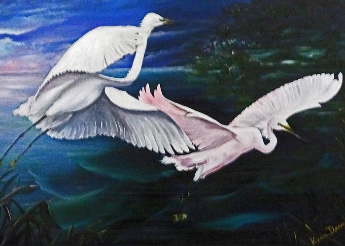 Snowy Egrets Greeting Card featuring the painting Early Flight by Karin Dawn Kelshall- Best