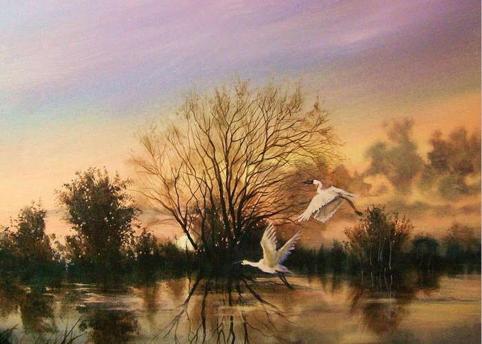 Landscape Greeting Card featuring the painting Early Flight by Tom Shropshire