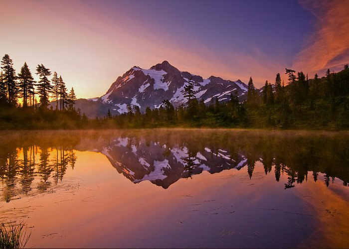 Sunrise Greeting Card featuring the photograph Early Morning At Picture Lake by Darren White