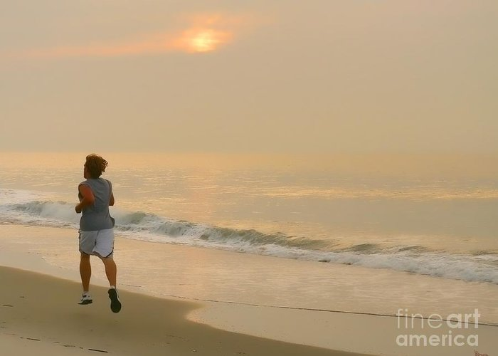 Myrtle Beach Greeting Card featuring the photograph Early Morning Jog by Jeff Breiman
