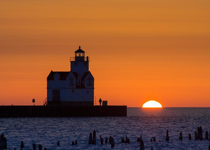 Lighthouse Greeting Card featuring the photograph Early Morning Meeting by Bill Pevlor