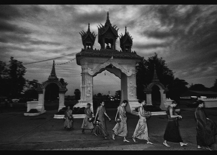 Thailand Greeting Card featuring the photograph Early Morning Monks by David Longstreath