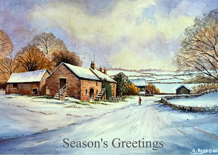 Greeting Cards Greeting Card featuring the painting Early Morning Snow Christmas Cards by Andrew Read