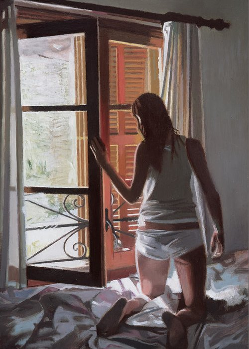 Majorca; Interior; Bedroom; Bed; Waking Up; Female; Underwear; Back View; Window; Awakening; Getting Up; Dressing; Summer; Curtain Greeting Card featuring the painting Early Morning Villa Mallorca by Gillian Furlong