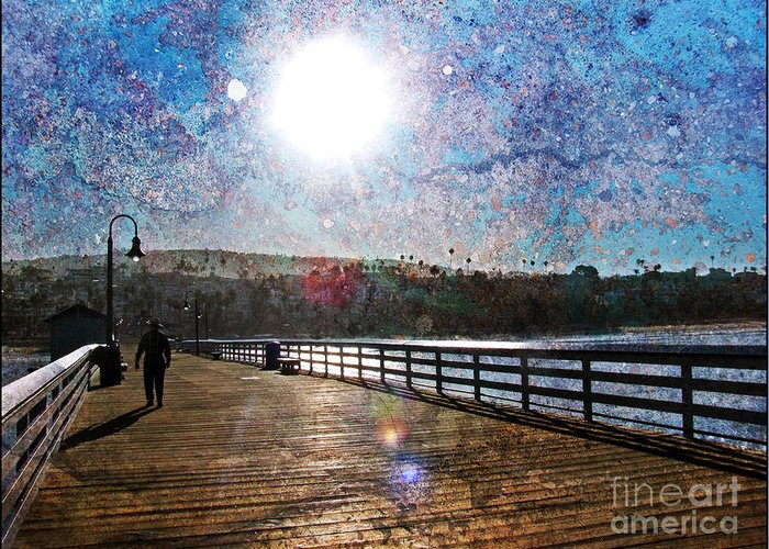 Traci Lehman Greeting Card featuring the photograph Early Morning Walk On The Pier by Traci Lehman