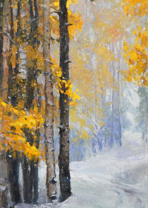 Wallis Greeting Card featuring the painting Early Snow by Eric Wallis