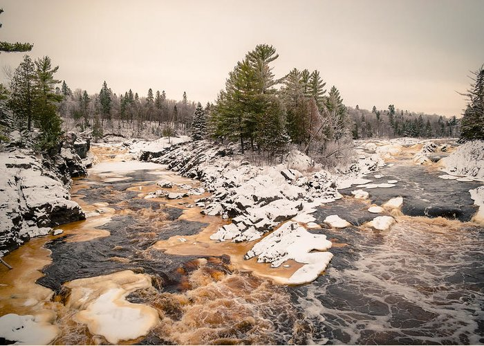 Cloquet Greeting Card featuring the photograph Early Snowfall On The Saint Louis River by Ever-Curious Photography