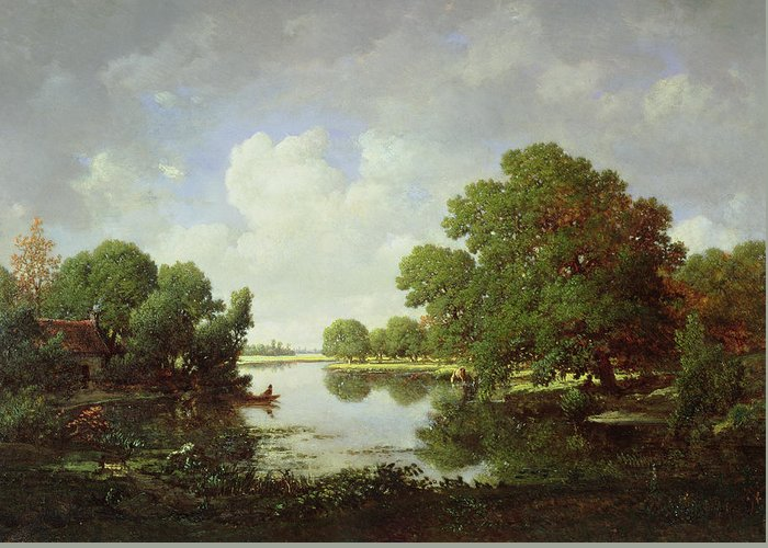 Early Summer Afternoon Greeting Card featuring the painting Early Summer Afternoon by Pierre Etienne Theodore Rousseau