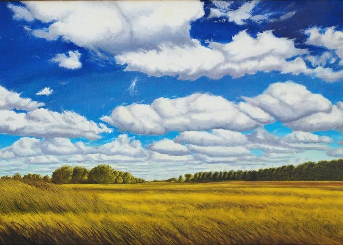 Wheat Greeting Card featuring the painting Early Summer Clouds by Leonard Heid
