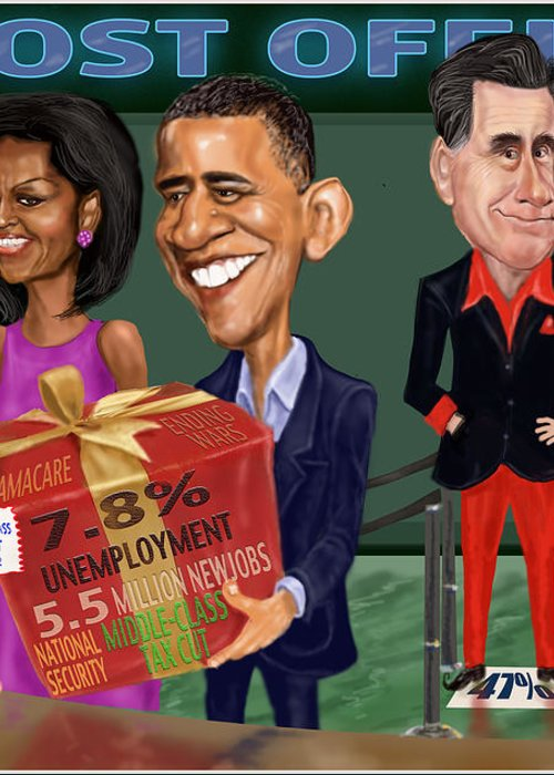 Obama Greeting Card featuring the digital art Early X-mas Gift by Fred Makubuya