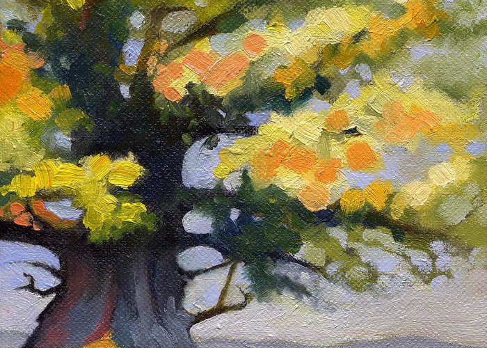 Oak Greeting Card featuring the painting Earlysville Virginia Ancient White Oak by Catherine Twomey