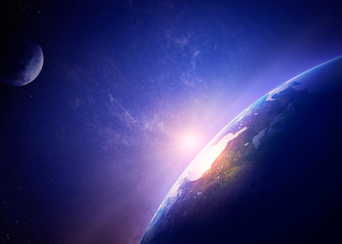 Earth Greeting Card featuring the photograph Earth Sunrise In Foggy Space by Johan Swanepoel
