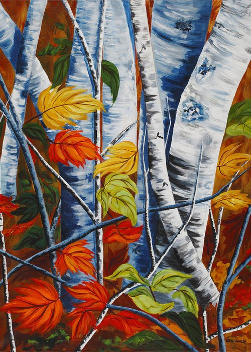 Abstract Trees In A Landscape Greeting Card featuring the painting Earthly Pillars by Gig Laurin