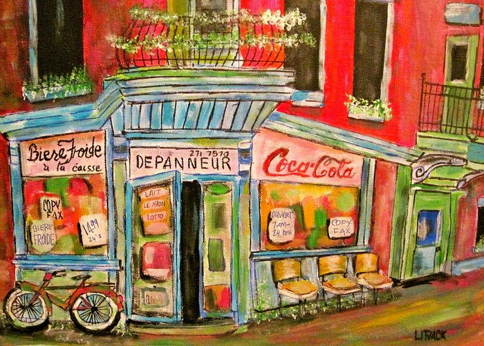 Litvack Greeting Card featuring the painting East End Depanneur by Michael Litvack