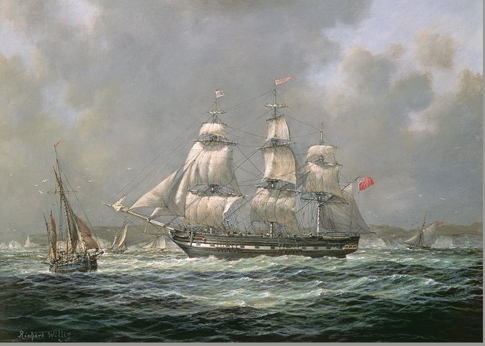 Boat Greeting Card featuring the painting East Indiaman Hcs Thomas Coutts Off The Needles   Isle Of Wight by Richard Willis