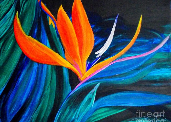 Bird Of Paradise Canvas Print Greeting Card featuring the painting Eastcoast Bird Of Paradise by Jayne Kerr