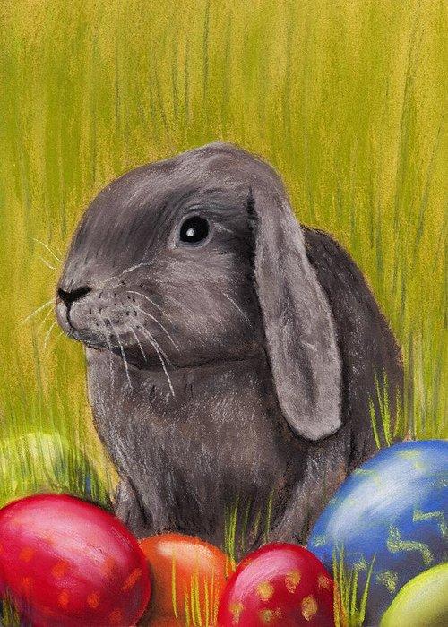 Rabbit Greeting Card featuring the painting Easter Bunny by Anastasiya Malakhova