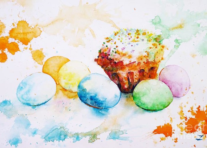 Easter Greeting Card featuring the painting Easter Colors by Zaira Dzhaubaeva