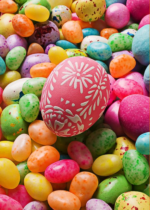 Easter Greeting Card featuring the photograph Easter Egg And Jellybeans by Garry Gay