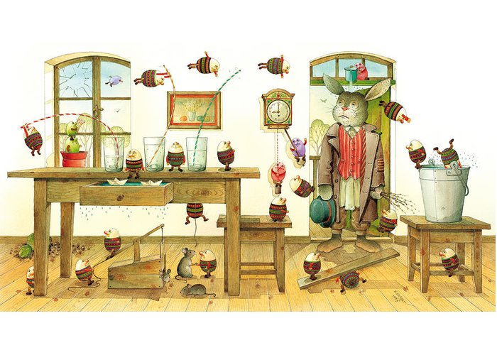 Easter Eggs Spring Rabbit Greeting Card featuring the painting Eastereggs 01 by Kestutis Kasparavicius