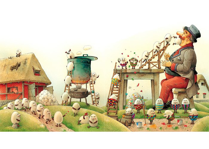Easter Eggs Spring Green Landscape Breakfast Greeting Card featuring the painting Eastereggs 07 by Kestutis Kasparavicius