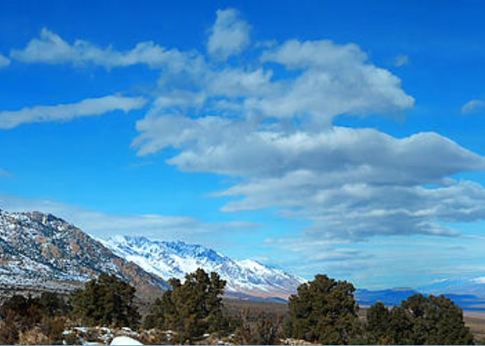 Eastern Sierra Greeting Card featuring the photograph Eastern Sierras Panoramic - U S 395 California by Glenn McCarthy Art and Photography