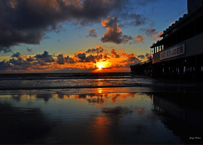 Sunrise Greeting Card featuring the photograph Eat At Joes - Daytona - Florida by George Bostian