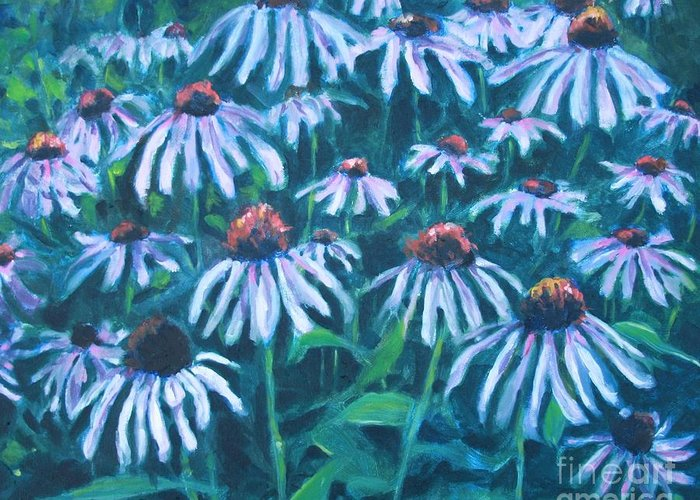Flowers Greeting Card featuring the painting Echinacea by Jan Bennicoff