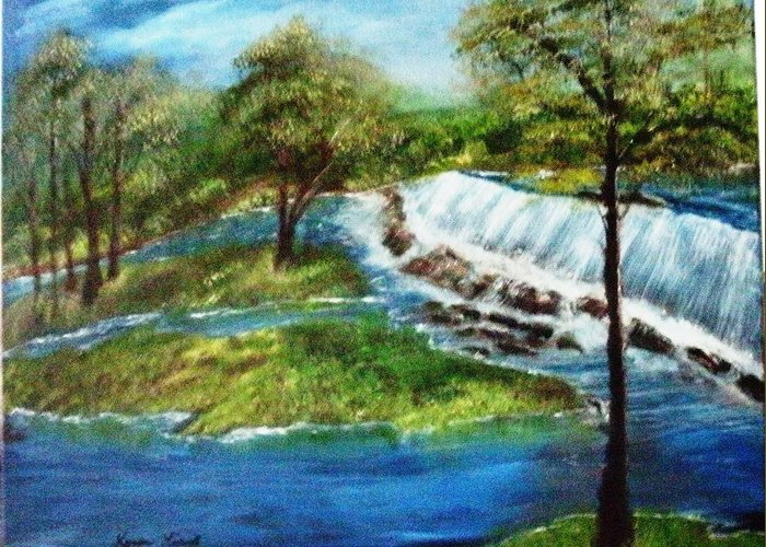 Landscape Greeting Card featuring the painting Echo Park by Karen Lipek