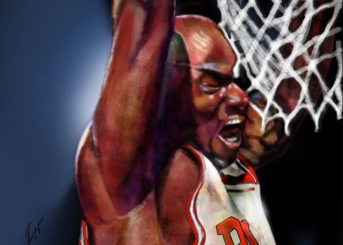 Michael Jordan Greeting Card featuring the painting Eclipsing The Moon - Jordan by Reggie Duffie