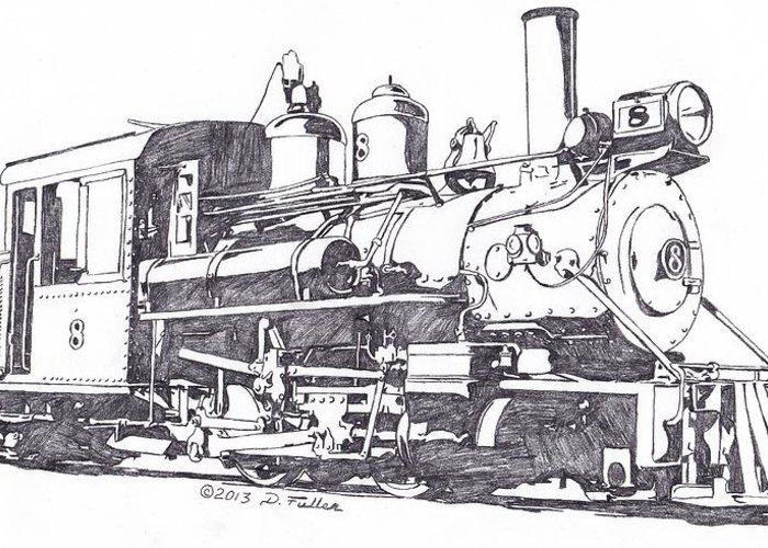 Steam Greeting Card featuring the drawing Edaville 8 by David Fuller