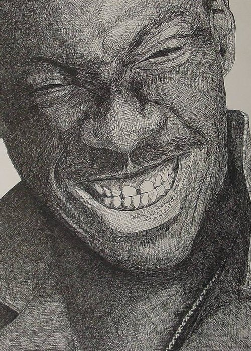 Portraiture Greeting Card featuring the drawing Eddie by Denis Gloudeman