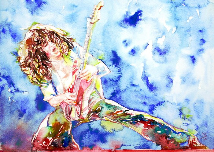 Eddie Greeting Card featuring the painting Eddie Van Halen Playing The Guitar.1 Watercolor Portrait by Fabrizio Cassetta