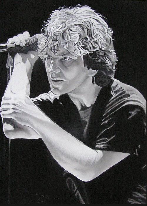 Eddie Vedder Greeting Card featuring the drawing Eddie Vedder Black And White by Joshua Morton