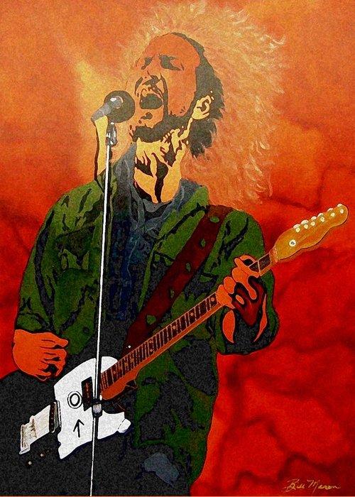 Eddie Vedder Paintings Greeting Card featuring the painting Eddie Vedder-eddie Live by Bill Manson