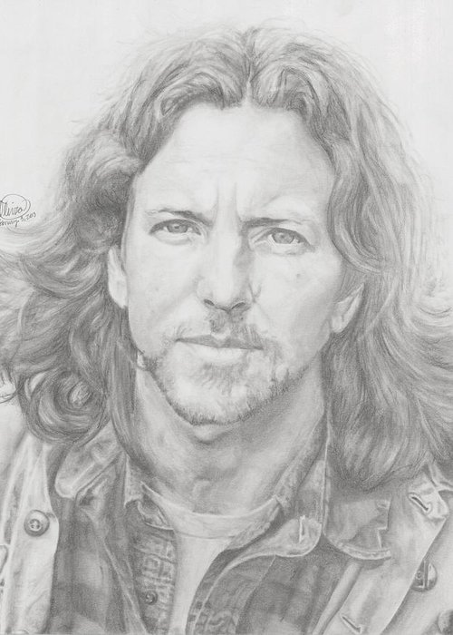 Eddie Vedder Greeting Card featuring the drawing Eddie Vedder by Olivia Schiermeyer