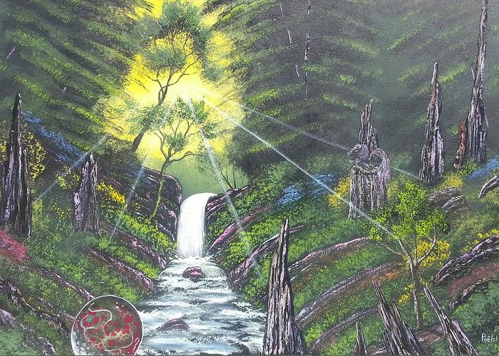 River Creek Trees Forest Set Bright Rocks Stone Figures Man And Woman Orb Gears Surreal Greeting Card featuring the painting Eden's Bridge by Jody Poehl