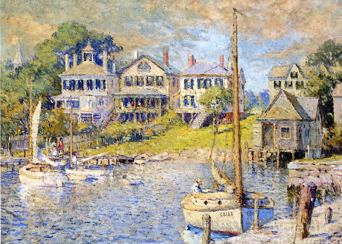 Boat Greeting Card featuring the painting Edgartown Martha's Vineyard by Colin Campbell Cooper
