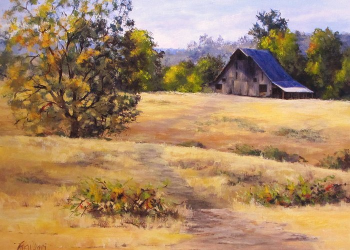 Landscape Greeting Card featuring the painting Edge of Autumn by Karen Ilari