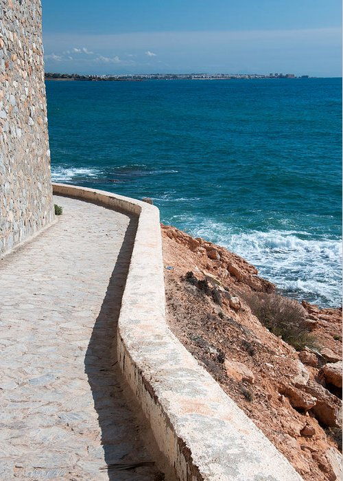 Edgy Pathway Along The Mediterranean Sea. Greeting Card featuring the photograph Edgy Pathway by Ingela Christina Rahm