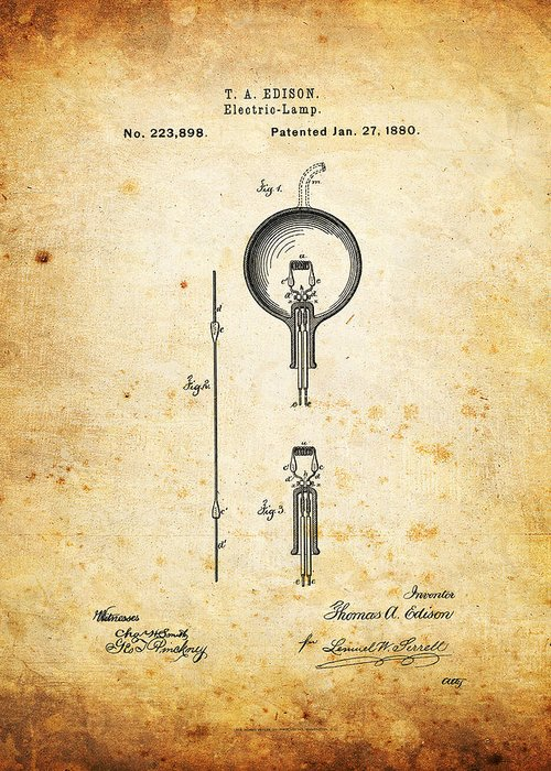 Thomas Greeting Card featuring the photograph Edison's Patent by Ricky Barnard