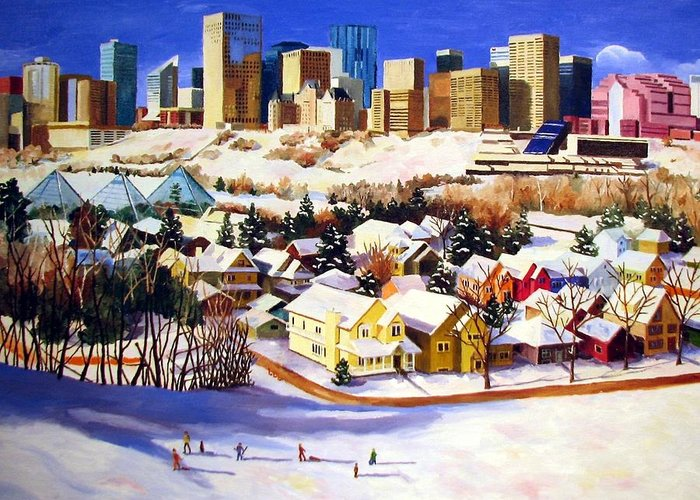 Urbanscape Greeting Card featuring the painting Edmonton In Winter by Nel Kwiatkowska