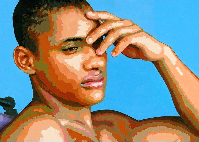 Figure Greeting Card featuring the painting Eduardo Na Luz by Douglas Simonson