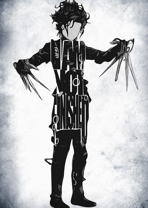 Edward Scissorhands Greeting Card featuring the digital art Edward Scissorhands - Johnny Depp by Ayse and Deniz