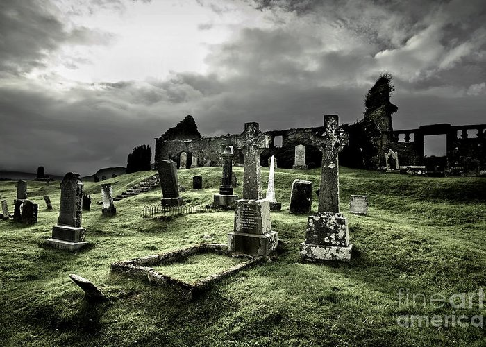 Cemetery Greeting Card featuring the photograph Eerie Cemetery by Andy Page